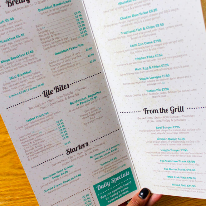 cafe menu inside