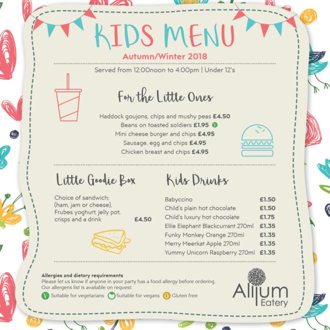 Bay view children's menu